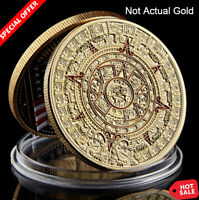 Mayan Aztec Calendar Art .999 1 Troy Oz Gold Coin Collection Decoration Gift