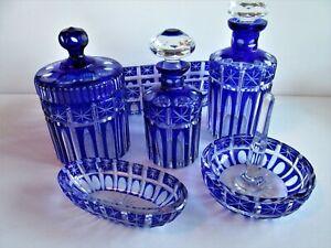 Vintage Czech/Bohemian Blue Cut To Clear Glass Perfume Vanity SET Perfume bottle