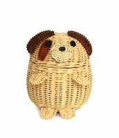 Dog Rattan Storage Basket Decor Hand Woven Shelf Organizer Gift Wicker Puppy Art
