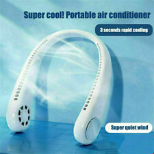 USB Leafless Neck Fan Cooler Rechargeable Dual Effect Cooling Neckband Fan AU