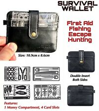 X MEN'S SURVIVAL LEATHER WALLET 4 Credit Card Size Tools Fishing Hunting Medical
