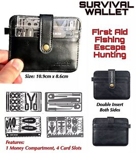 Mens Survival Leather Wallet 4 Credit Card Size Tools Fishing Hunting Medical
