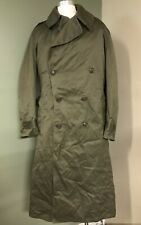 Vintage 1940s Us Army Cold Weather Medium Long Trench Field Coat Unused Overcoat