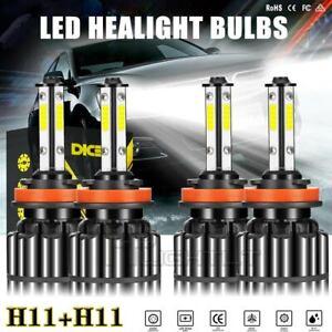 Super Bright 4 Sides H11 LED Headlight Conversion Kit Hi/Low Beam Bulbs 6000K 4X