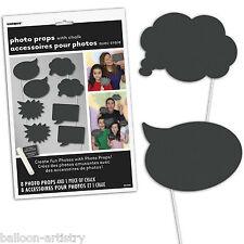 8 Halloween Negro burbuja de diálogo Partido De Mano Brillo de Photo Booth Utilería & Tiza