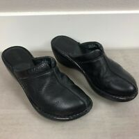 Born Women's Mules Clogs Shoes Size 7/38 W3385 Black Leather Slip On Wedge Heel