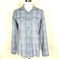 Ariat Womens Sz Medium Blue Pink Yellow Metallic Plaid Snap Front Western Shirt