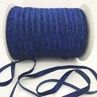 "New 5 yards 3/8""10mm Blue Sparkle Glitter Velvet Ribbon Headband Craft supplies"