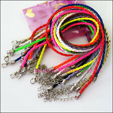 10Strand Mixed PU Leather Twist Chains Necklace Cords Thread+ Lobster Clasp 44cm