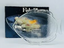 Vintage Crystal Etched Glass Fish Platter Seafood Serving Tray Nautical Decor