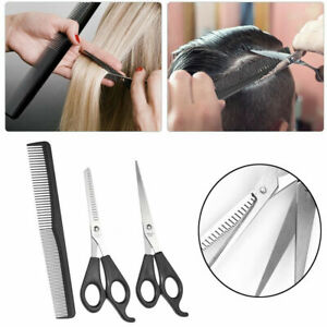 3pc Hairdressing Barbers Set Comb Scissors Thinning Cutting Professional Style