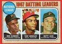 1968 Topps #1 Roberto Clemente Batting Leaders EX-EX+ WRINKLE Matty Alou HOF
