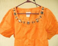 HOT COTTON S SOLID ORANGE LINEN JEWEL BEADED PINTUCK GYPSY BOHO SS BLOUSE WOMEN
