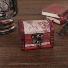 HOT Retro Stamp Small Metal Lock Jewelry Treasure Chest Case Handmade Wooden Box