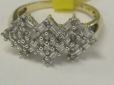 VINTAGE 10 k GOLD 0.40CT TW  DIAMOND  WIDE RING SIZE 7.25, ROUNDS AND BAGUETTES