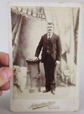 VTG Antique Studio Photo Cabinet Card Man Adult Metropolitan Chicago Il Illinois