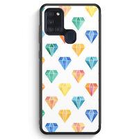 Bunte Diamanten Muster Weiß Silikon Hülle für Samsung Galaxy A21s Motiv Desig...