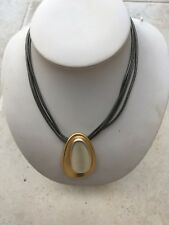 Peace of Mind (POM) Gold Leather multi strand collar necklace NEW RRP £23.99
