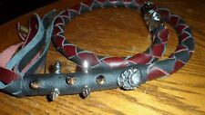 biker whip getback ULTIMATE whip BLACK & BLACK CHERRY SKULLS &SPIKES BY STITCH