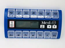 MedQ Daily Pill Box Reminder with Flashing Light and Beeping Alarm, Blue