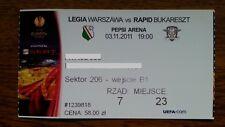 Ticket LEGIA WARSAW - RAPID BUCHAREST 2011/12 Europa League Poland Romania