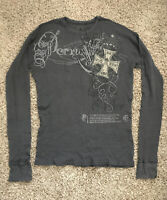 MONARCHY Mens Gray Waffle Knit Thermal Graphic Long Sleeve T-Shirt Size  XL