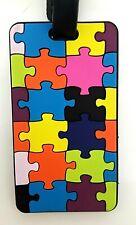 NEW! Coloured Puzzle design Silicon Luggage Tag 5x9cm Travel Accessory