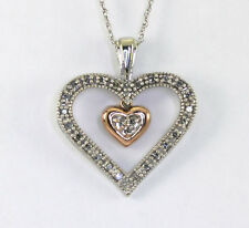 Diamond double heart pendant necklace rose white gold 28 rounds .30CT + chain