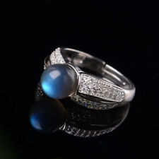 Genuine Romantic Natural Clear Blue Moon Stone Ring S925 Sterling Silver Gifts