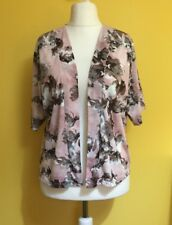 Pink Floral Cardigan, Short Sleeves DOROTHY PERKINS ~Size 14~Open Front