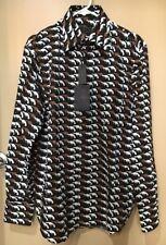 NWT Prada Gun Print 2012 Runway Dress Shirt Brown Black White Size 41/16 Italy