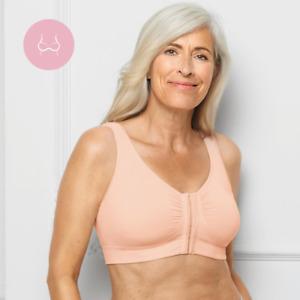 Amoena Clara Non-wired Front Closure Mastectomy Bra - Rose Nude 44743