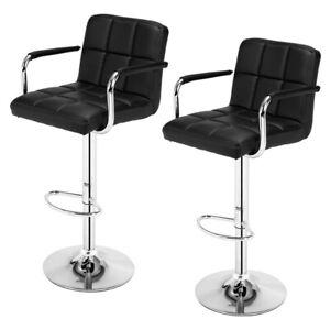 2x Modern Adjustable 60-80cm  Cushion Bar Stools with Armrests in Black