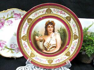 Royal Vienna Portrait Plate Schwarzburg Maiden raised beaded gold German 1930