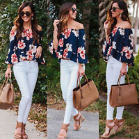 Womens Floral Printed Off Shoulder Long Sleeve T-shirt Casual Loose Tops Blouse