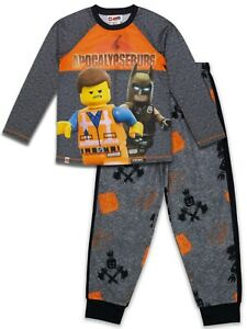 Boy's Lego Movie 2 Batman Sleepwear Pajama Set, LS Shirt+ Pants (Large L, 10/12)