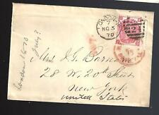 1870 Cover London to Ny Usa to Wife of General John G Barnard