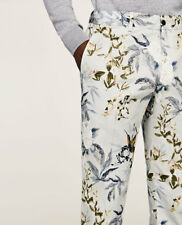 ZARA MENS BIRD PRINT PANTS TROUSERS SKINNY AW/17 NEW RRP - £69.00