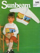 """Knitting Pattern enfant Lapin Sunshine Motif Cardigan 3 1/4 mm DK 20"""" -24 VINTAGE"""