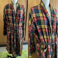 Vintage ST. MORITZ Bath ROBE Green Gray Plaid M yellow plaid green red Portugal