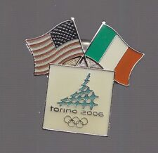 2006 Torino Olympic Pin US Italy Flag United States Turin