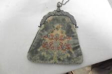 Antique Victorian grey velvet burn out purse ornate sterling silver frame