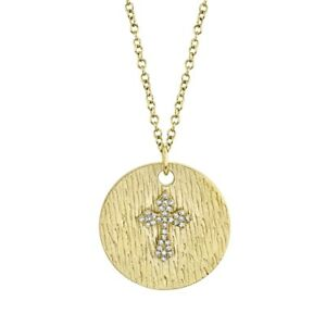 14K Gold Diamond Circle Disc Cross Pendant Necklace Vintage Antique Finish