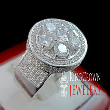 Pure Silver Mens Flower Cluster Pave Set 3D Simulated Diamond Ring Stretchable