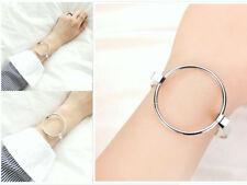 Big Geometric Silver Bracelet Bangle Minimalist Simple Round Circle Elegant Chic