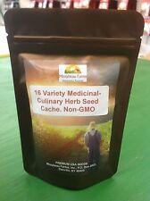 16 VARIETY Medicinal & Culinary, Garden/Survival Herb Seed Cache! Non-GMO.