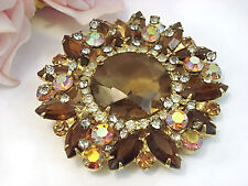 Vintage Costume Jewelry D & E Aurora Borealis Topaz Colored Brooch  Pin