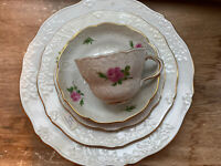 Set of 5 Antique Meissen Porcelain Floral Cup, Saucer, & Plates Great Condition