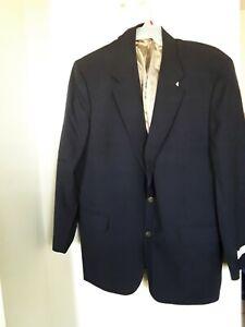 BILL BLASS Mens Blue PURE WOOL 2 Button 1 Vent Blazer Sportcoat size 46 L NEW