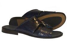 GIAMPIERONICOLA  5039 Italian mens navy blue sandals w/ buckle